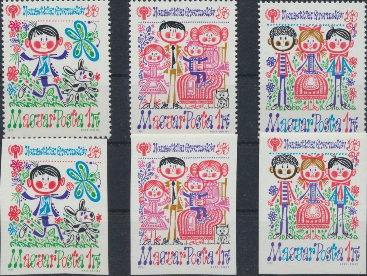 Ungarn 3335-3337 Zähnung A+B Jahr des Kindes 1979 komplett postfrisch ** MNH