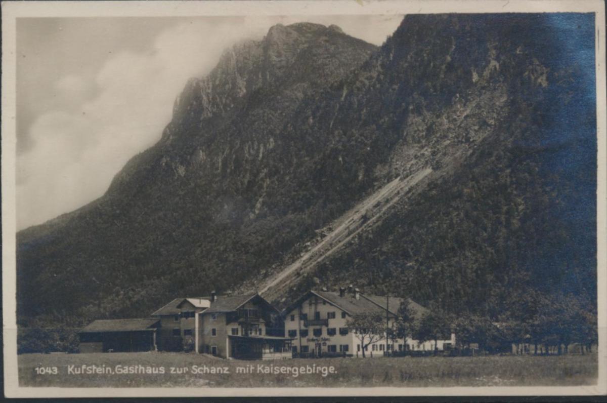 Ansichtskarte Foto Kufstein Gasthaus zur Schanze mit Kaisergebirge Berchtesgaden