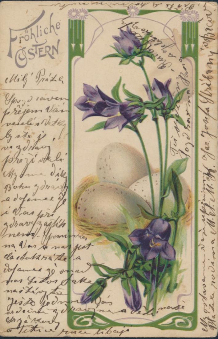 Ansichtskarte Österreich-Ungarn Künstler Ostern Frühlingsblume Eier