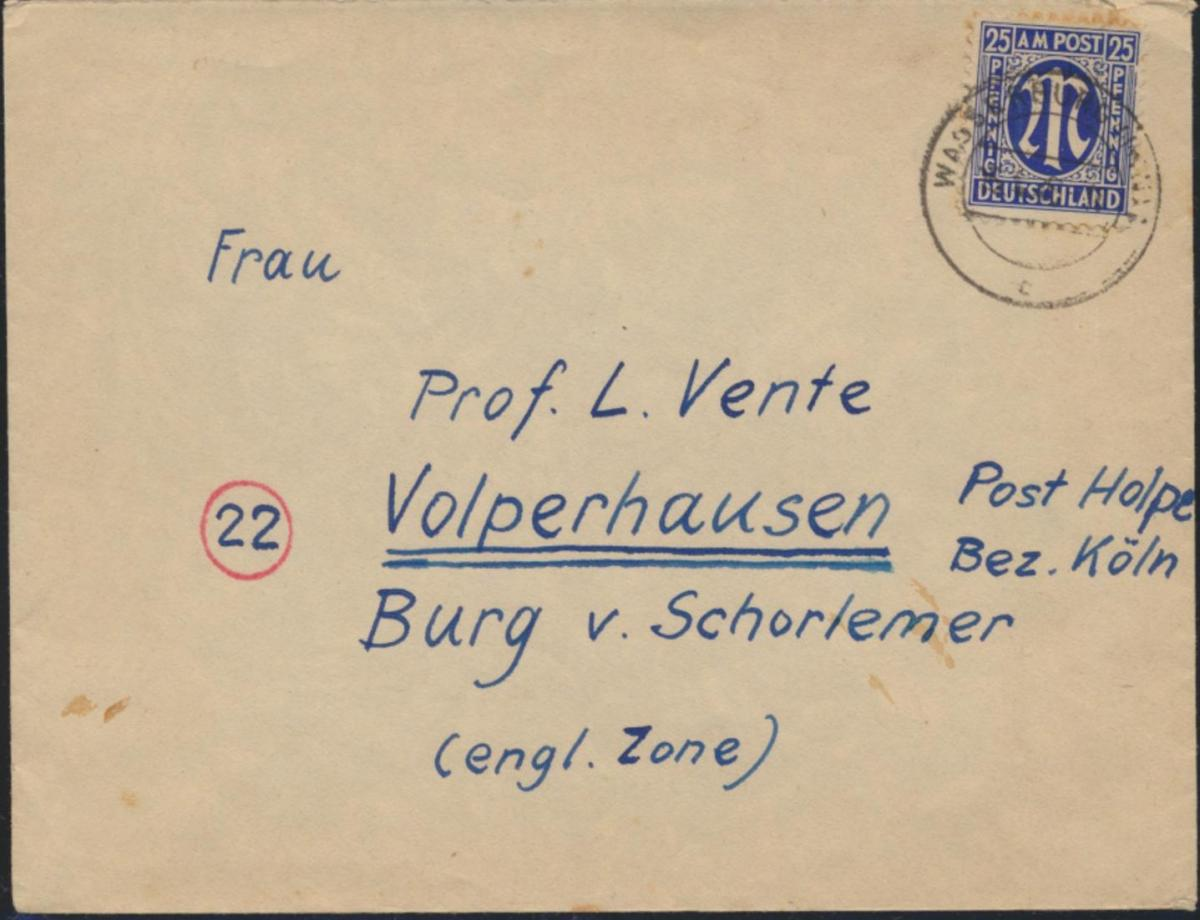 Brief Bizone EF 9 z Wasserburg nach Volpershausen 15.4.1946