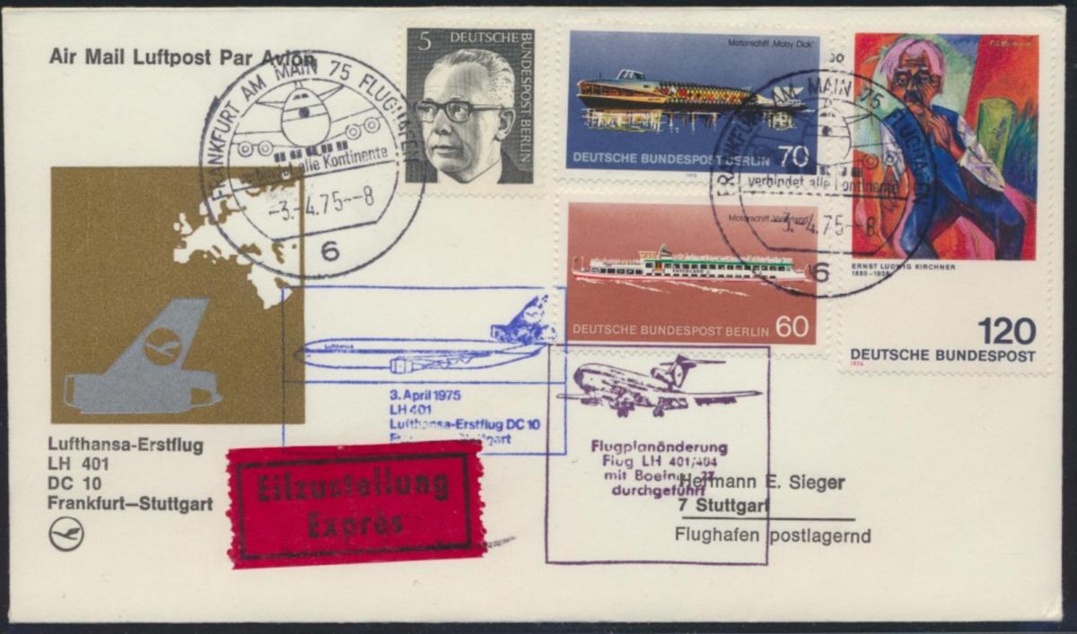 Flugpost Bund Berlin Lufthansa Erstflug Boing LH 401 Eilzustellung air-mail
