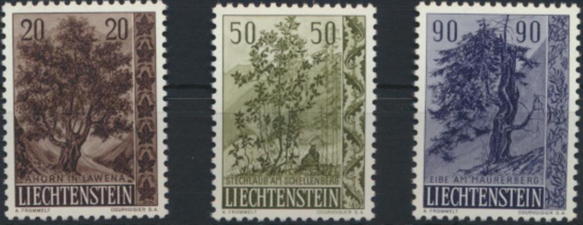 Liechtenstein 371-373 Einheimische Bäume + Sträucher tadellos postfrisch