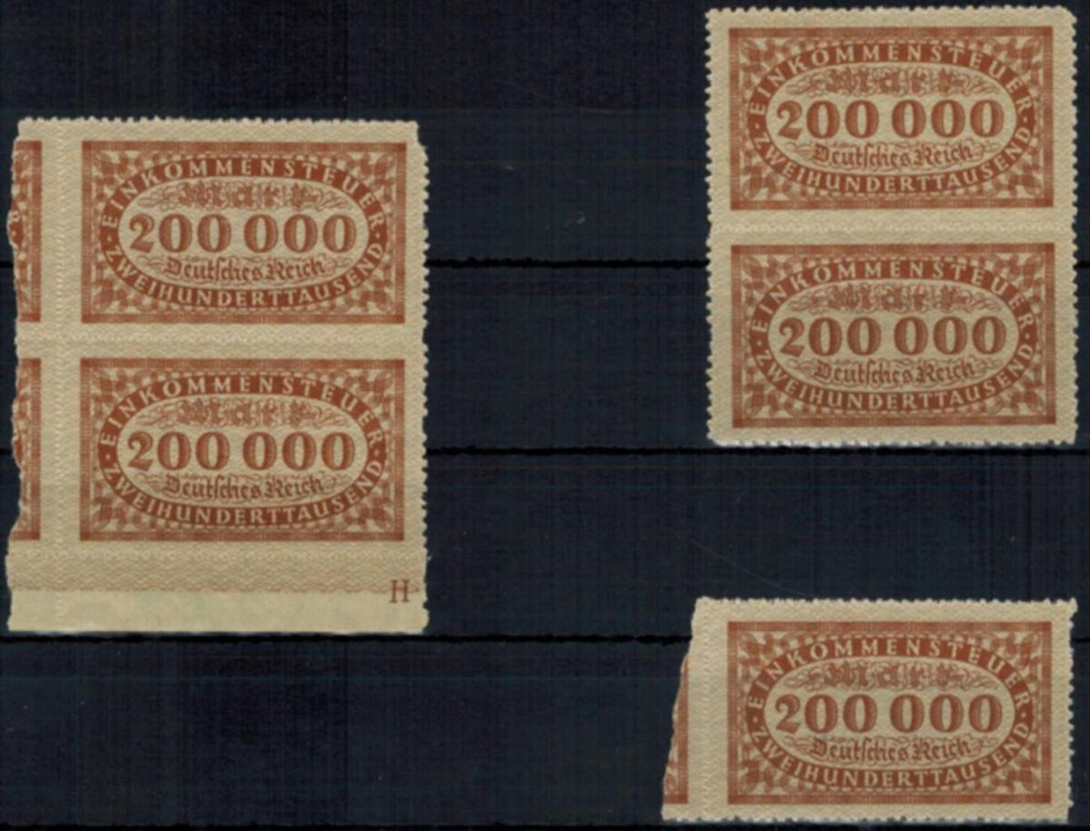 Deutsches Reich Infla Fiscal Einkommensteuermarke 5x 200.000 Mark 1923 H von HAN
