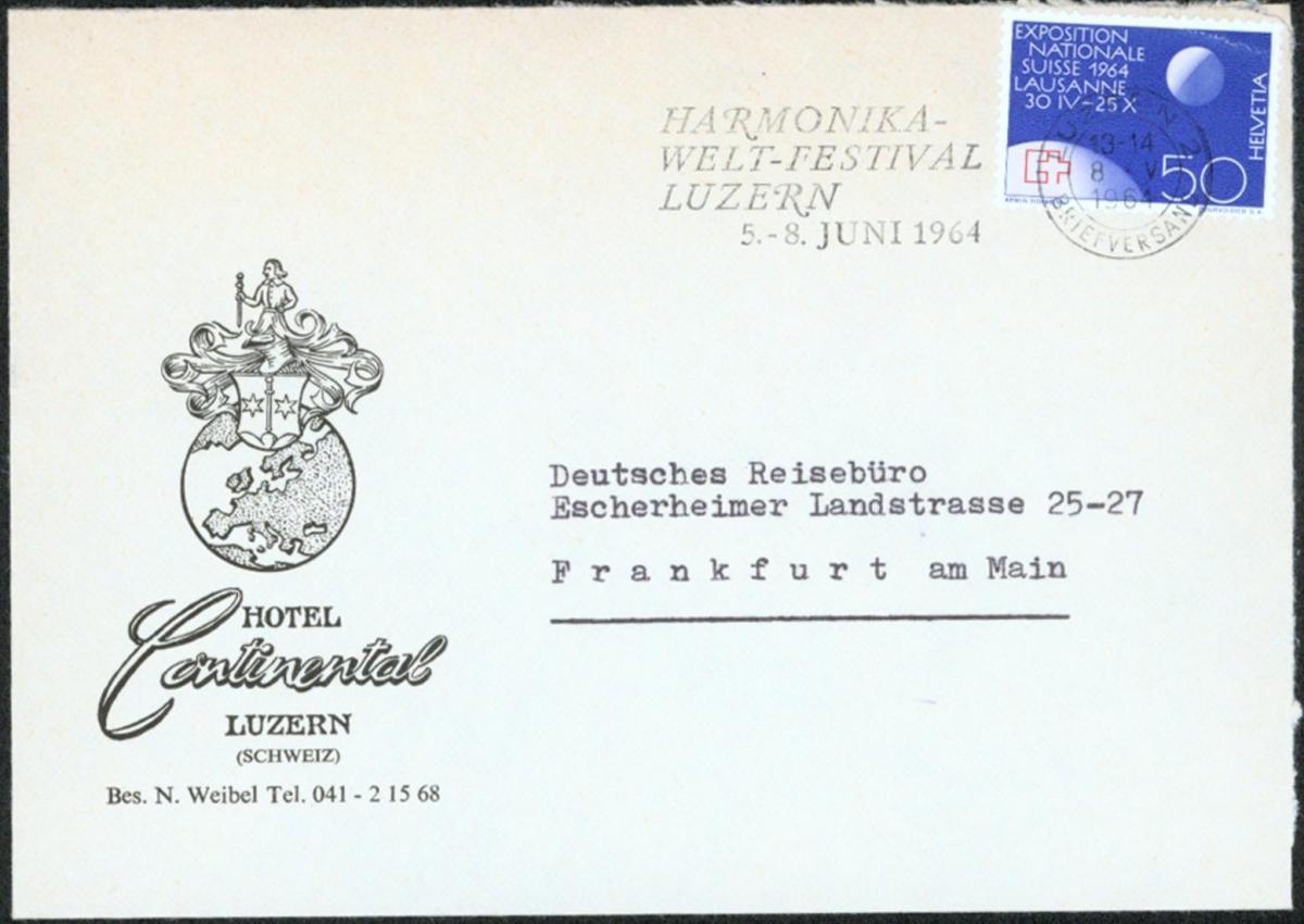 Schweiz Hotelbrief 784 Musik Instrumente Masch.-Werbest HARMONIKA-WELT-FESTIVAL