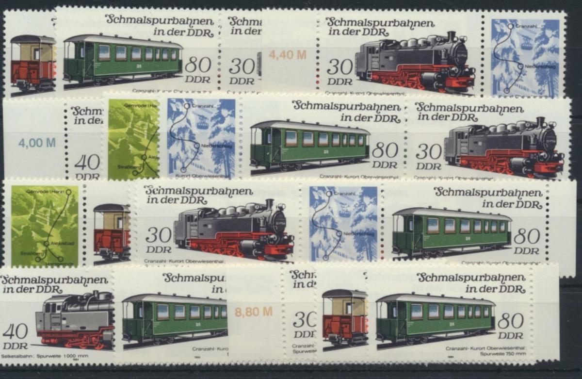 DDR 2864-2867 Eisenbahn kpl.12 Zusammendrucke Luxus postfrisch + Einzel  28,00