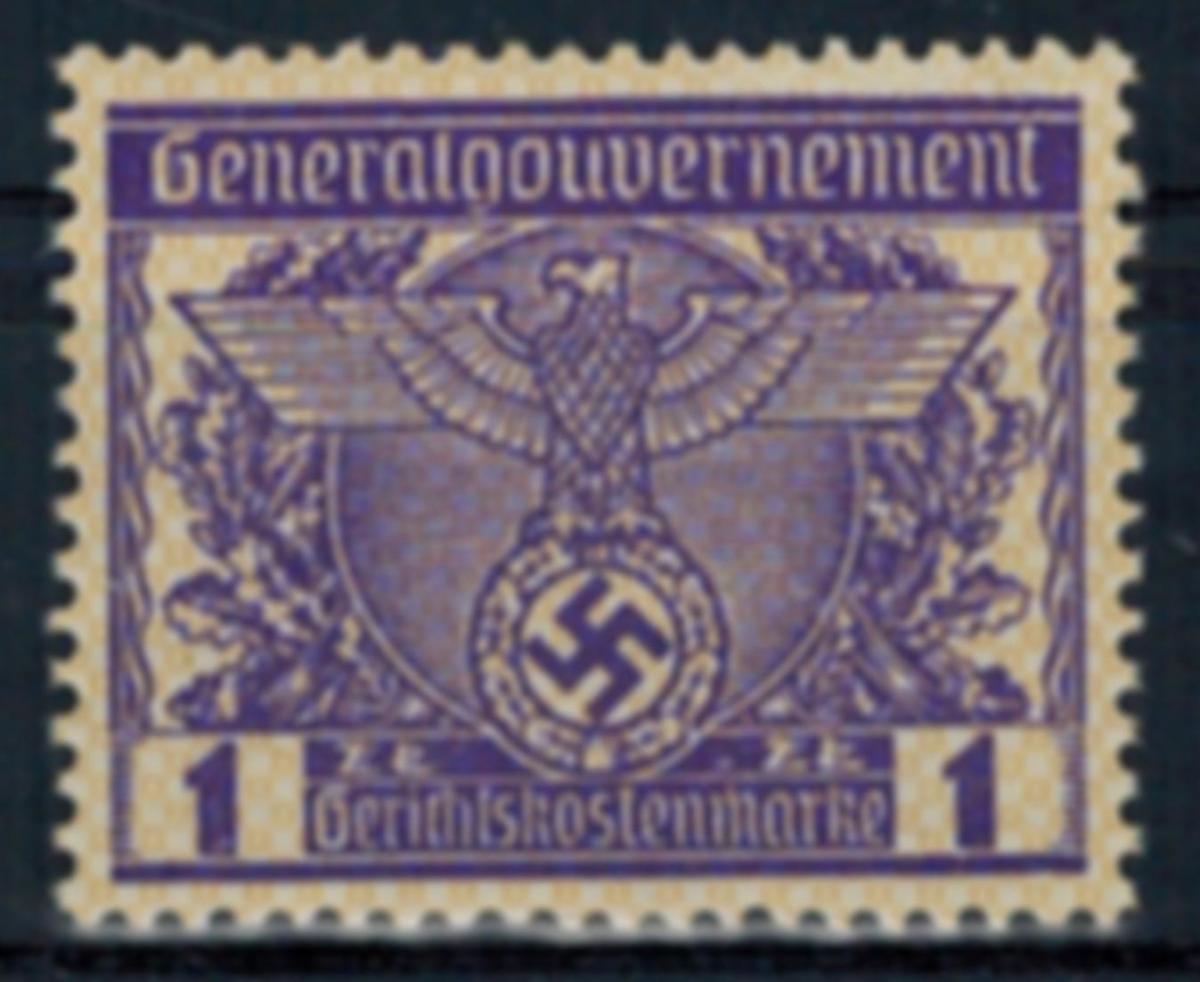 Deutsches Reich Vignette Generalgouvernement 1 Zt. Gerichtskostenmarke postfr. 0