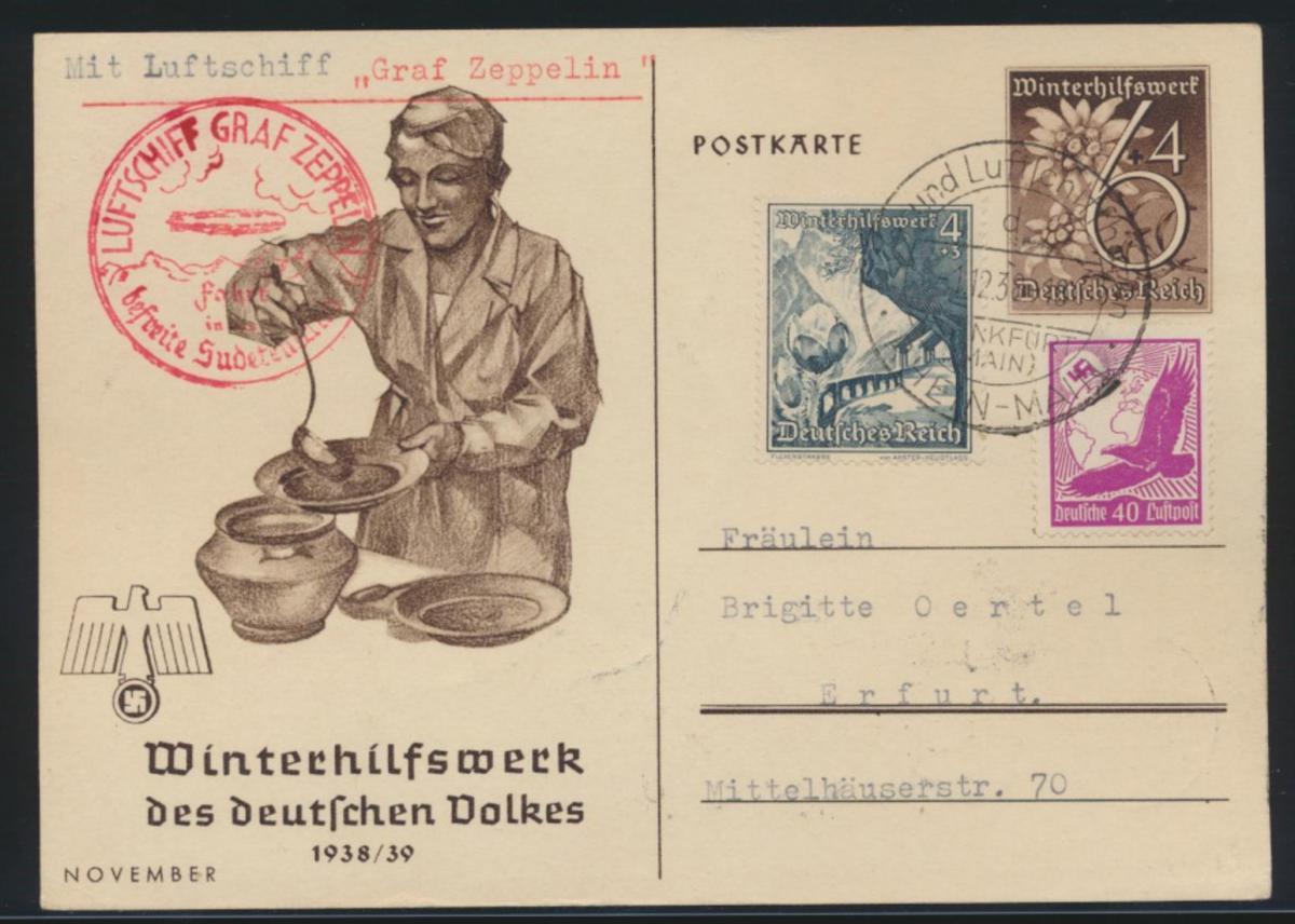 Zeppelin Flugpost airmail Reich Ganzsache ZUF Adler WHW Fahrt ins Sudetenland
