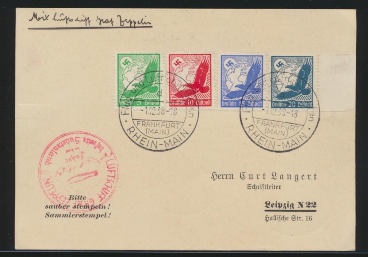 Zeppelin Flugpost airmail Reich 529-532 Steinadler Frankfurt Main Sudetenland rs