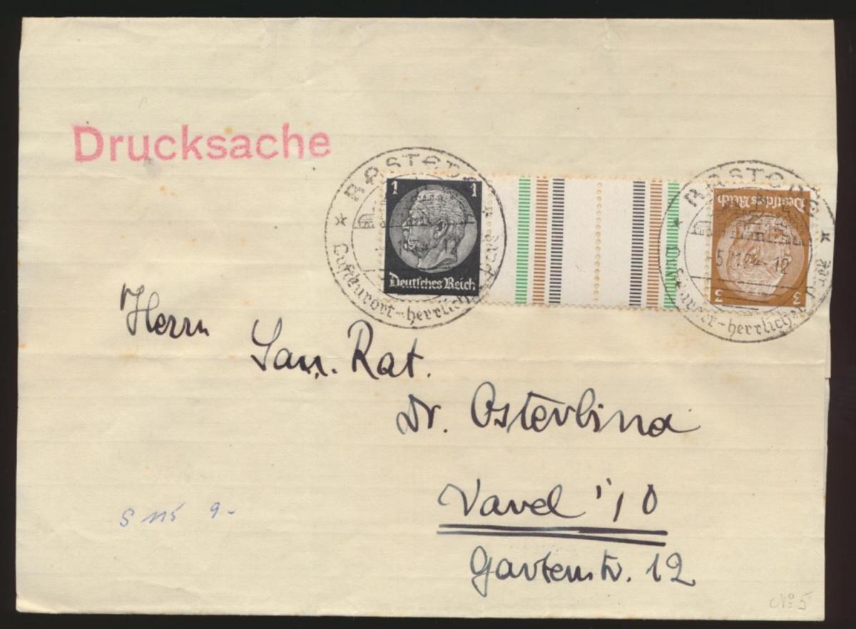 D Reich Zusammendruck Hindenburg KZ 20 Rastede nach Varel 5.11.1934 Kat.50,00 0