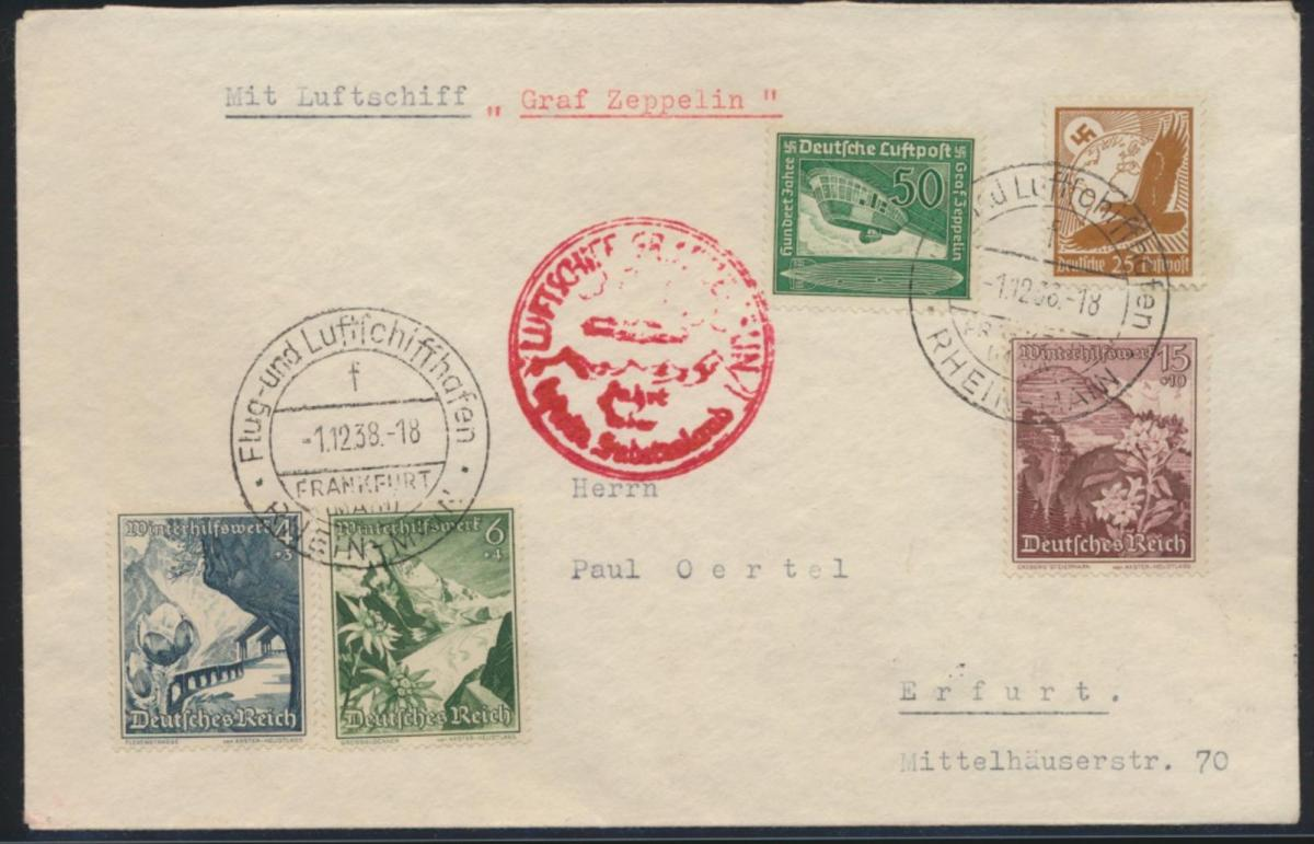 Zeppelin Flugpost airmail Reich Frankfurt Rhein Main Sudetenland Adler WHW 0
