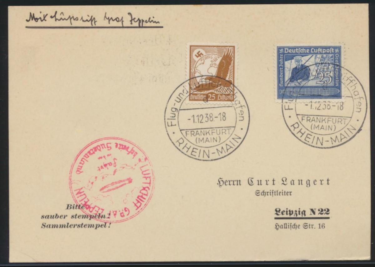 Zeppelin Flugpost airmail Reich Steinadler + 669 Frankfurt Main Sudetenland