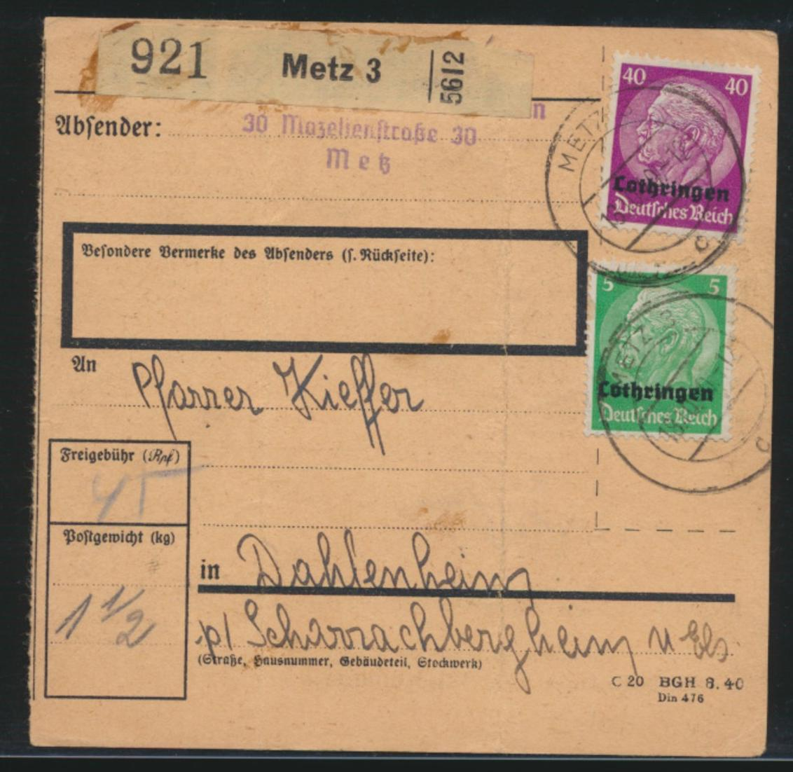 Besetzung 2 Weltkrieg Lothringen MIF 3 + 12 Hindenburg Metz Dahlenheim France 0