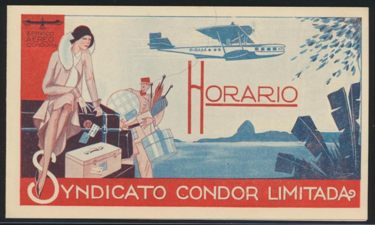 Flugpost airmail Reich Condor selt. Art Deco Künstler Klappkarte Zeitplan Natal