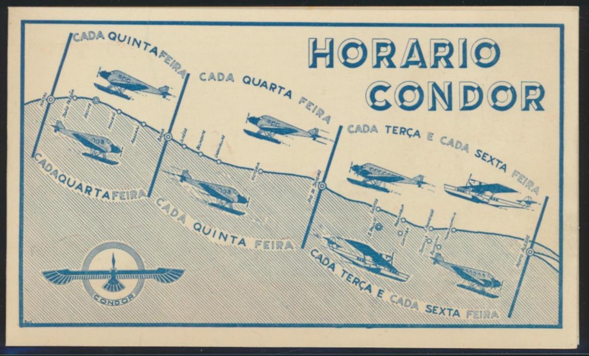 Flugpost airmail Reich Condor selt. Art Deco Künstler Klappkarte Zeitplan Natal 2