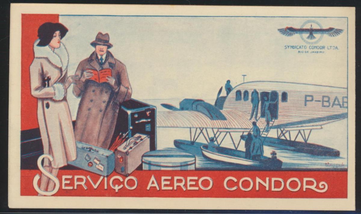 Flugpost airmail Reich Condor selt. Art Deco Künstler Klappkarte Zeitplan Natal 3