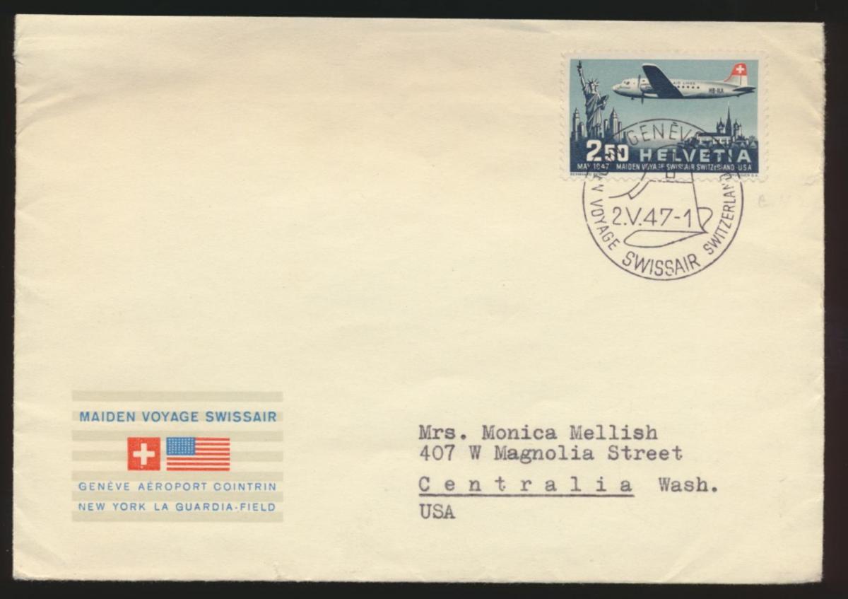 Flugpost airmail Schweiz Genf 479 Centralia Washington USA FDC Kat.-Wert 60,00