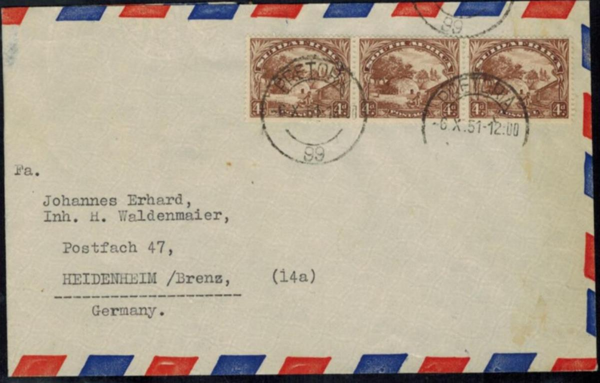 Südafrika Auslandsbrief Dreierstreifen 57-58 II Pretoria-Heidenheim