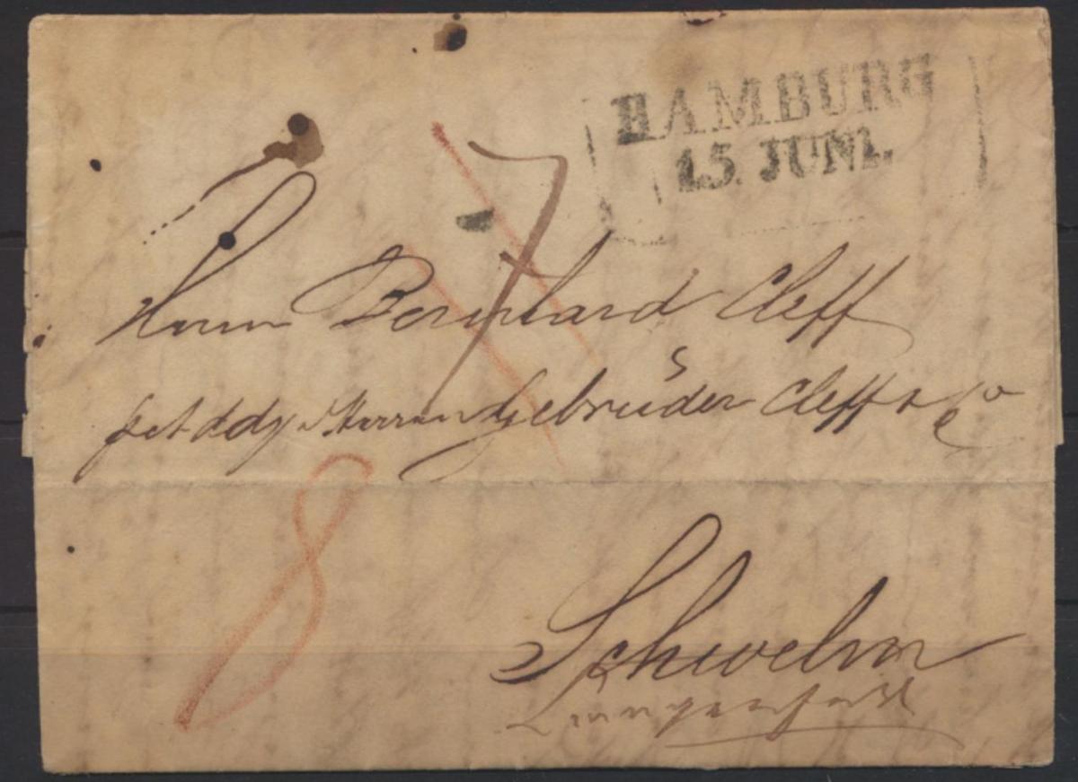 Altdeutschland Vorphila Brief mit R2 Hamburg 15. Juni n Schwelm weitergeleitet