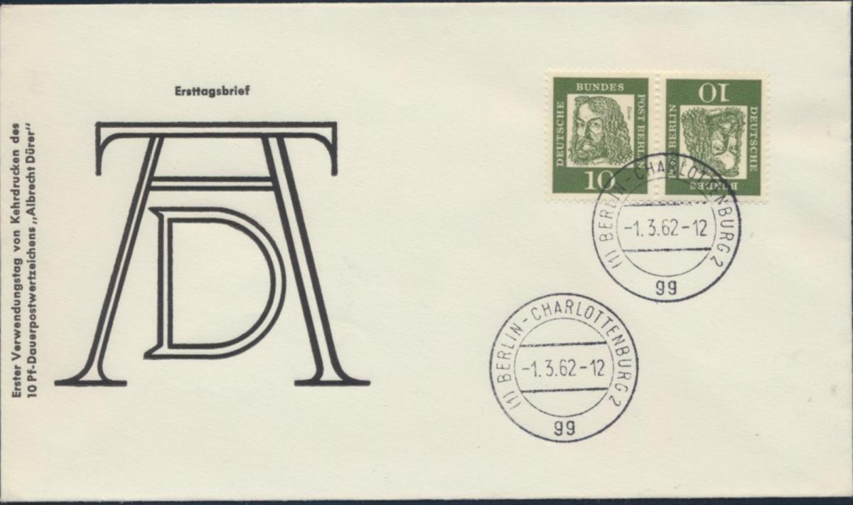 Berlin Brief Zusammendruck K 3 Kehrdruck Bedeutende Deutsche Dürer Berlin