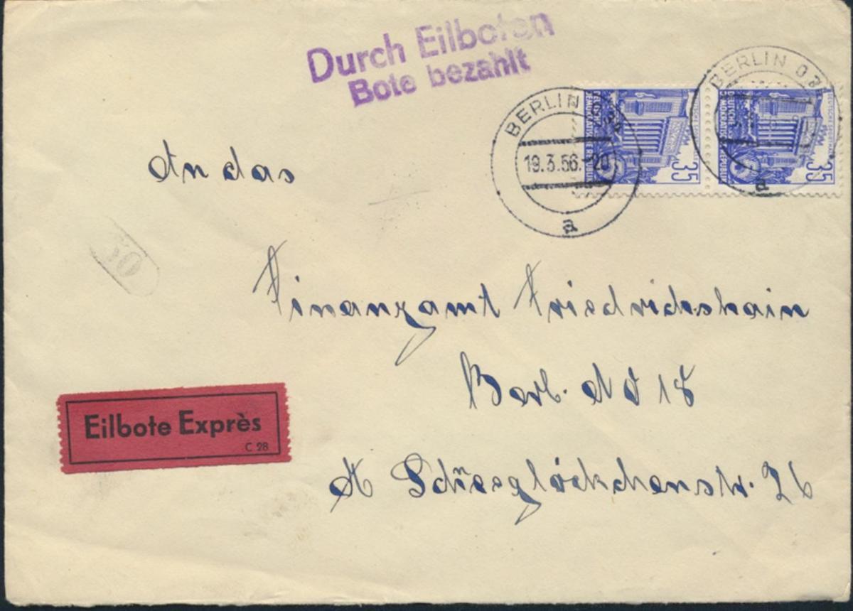 DDR Brief Eilzustellung Bote bezahlt MEF 417 Paar Berlin Friedrichshain