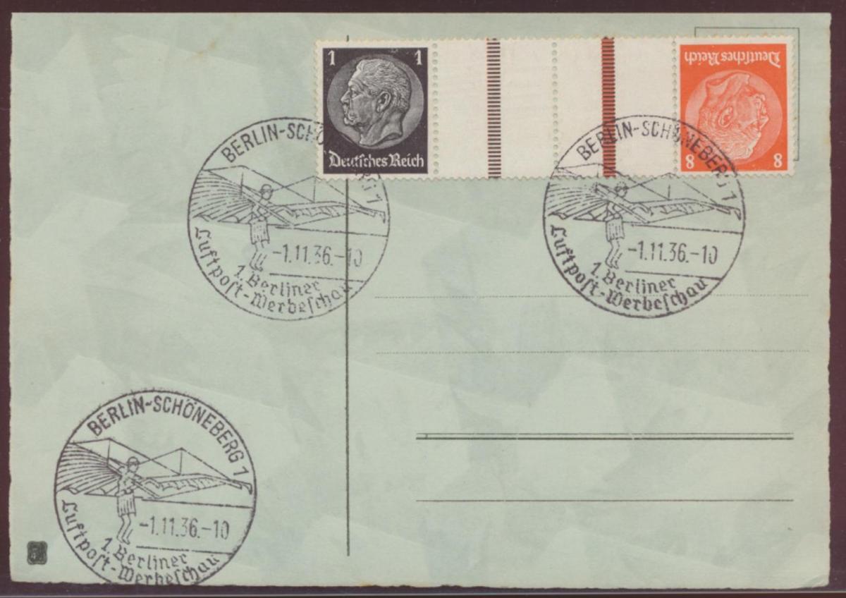 Flugpost Reich Zusammendruck Hindenburg KZ 24 selt. SST Berlin Luftpostschau auf