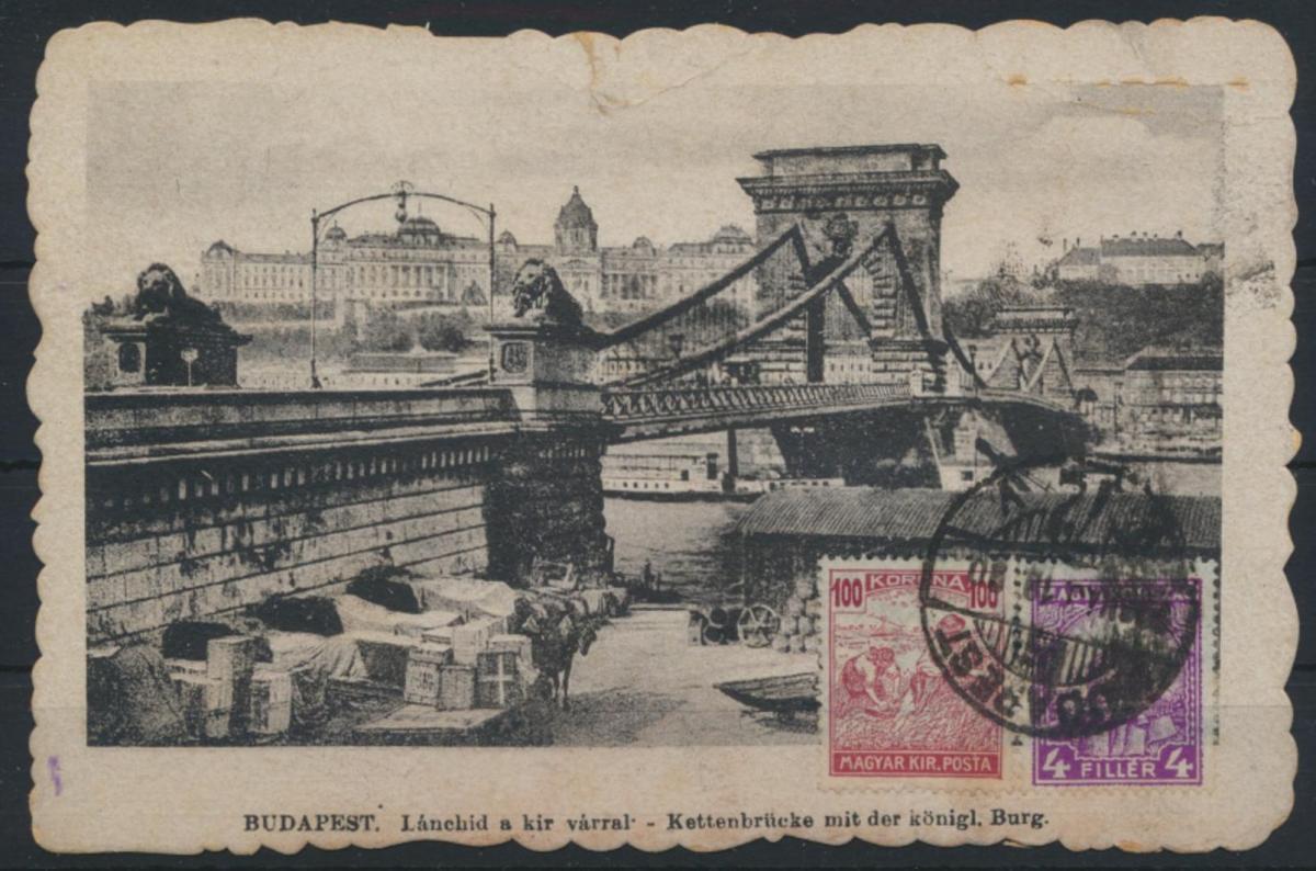 Ansichtskarte Ungarn Budapest Kettenbrücke Burg bildseitig frankiert