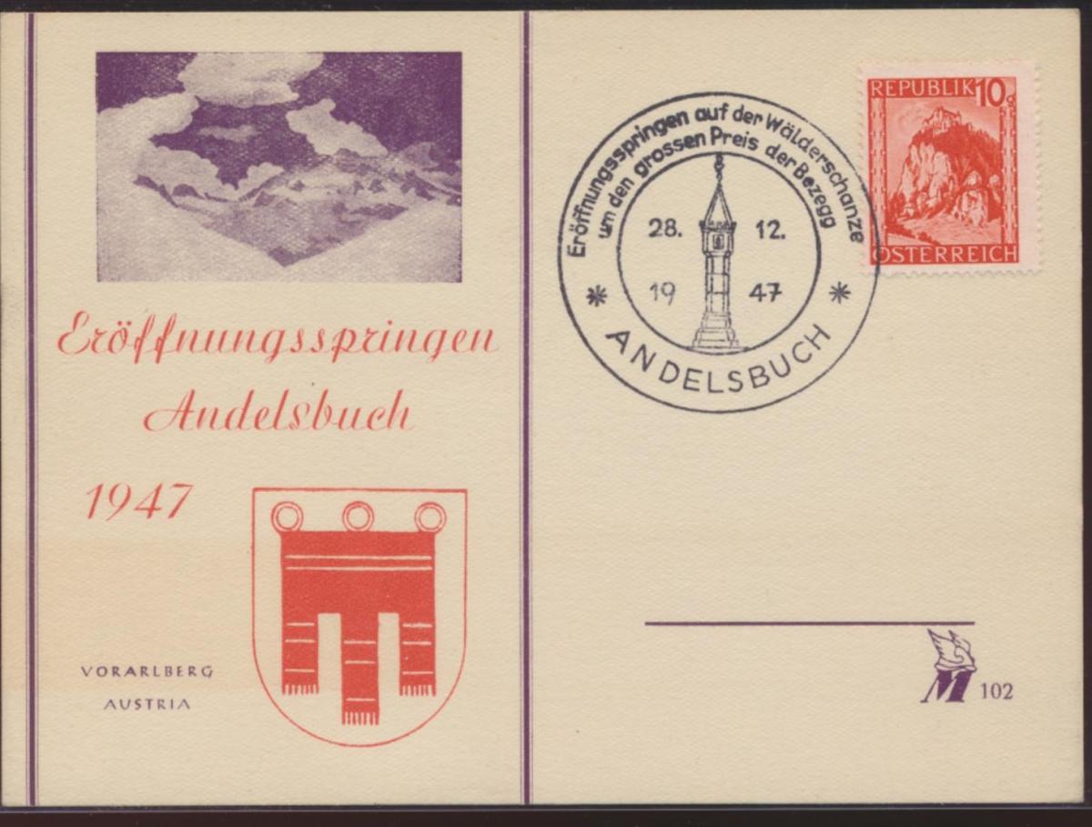 Österreich Postkarte Werbestempel Eröffnungsspringen Wintersport Andelsbuch