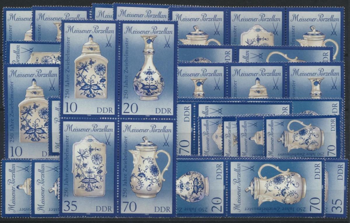 DDR 3241-44 Porzellan Meissen kpl.16 Zusammendrucke Luxus postfrisch Kat. 37,00 0