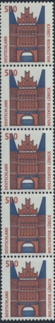 Bund Rollenmarken 5er Streifen 510 Pf Sehenswürdigkeiten 1938 A R postfrisch