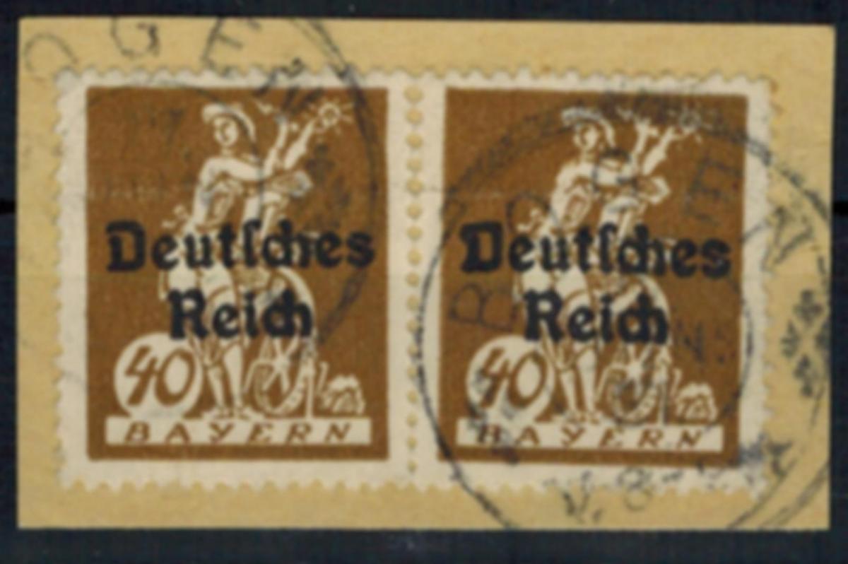 Deutsches Reich 124 Abschiedsserie 40 Pf Aufdruckfehler VII 1920 auf Briefstück
