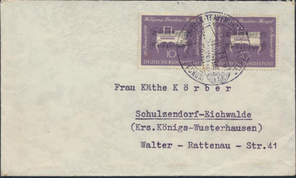Bund Brief MEF 228 SST Seebad Lübeck-Travemünde nach Schulzendorf 3.2.1956