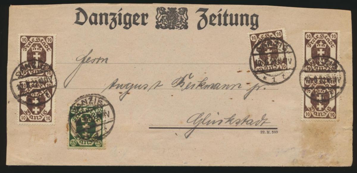 Danzig Brief Streifband MIF 74 + 77 Wappen Danziger Zeitung nach Glückstadt