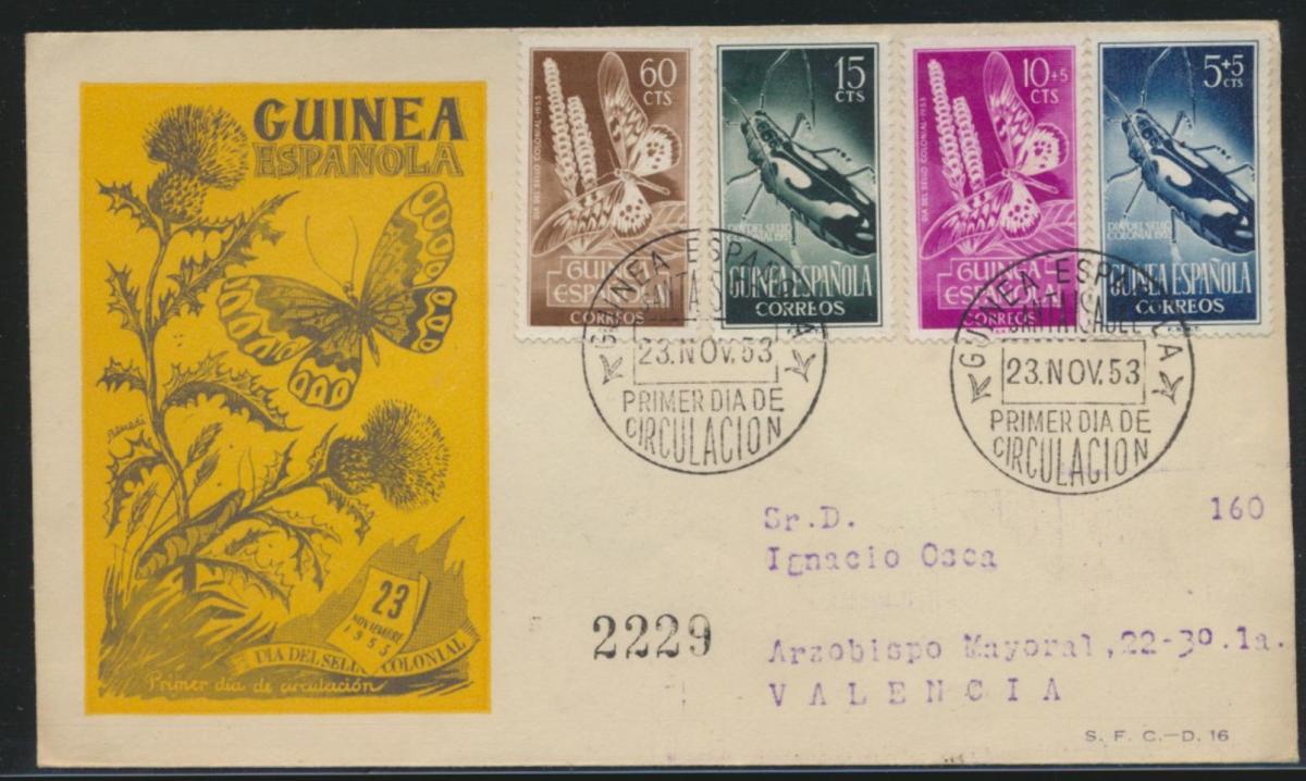 Spanisch Guinea Brief Insekten Schmeterlinge cover Guinea Espanola