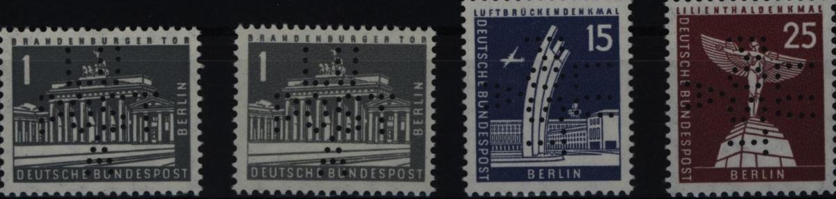 Berlin 140, 145, 147 mit Lochung LUPOSTA 1962 tadellos postfrisch
