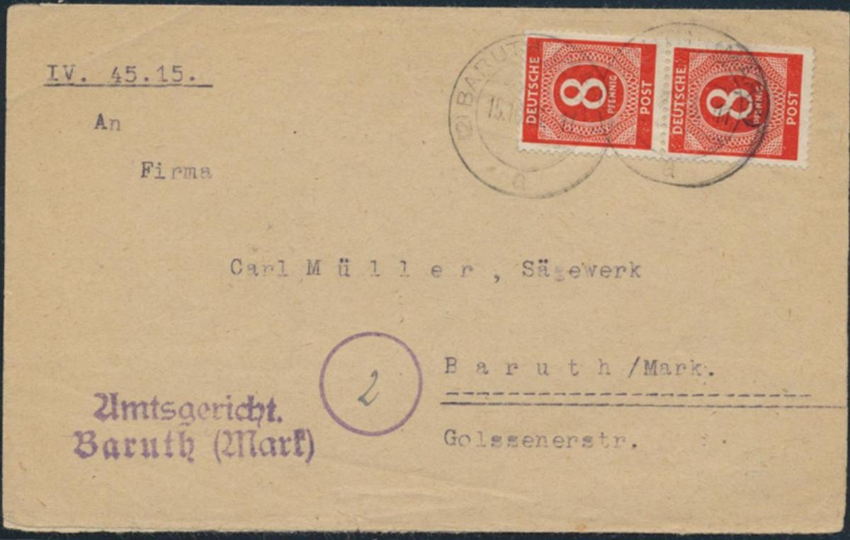 Besetzung Brief MEF 917a Paar Baruth Mark 15.10.1946