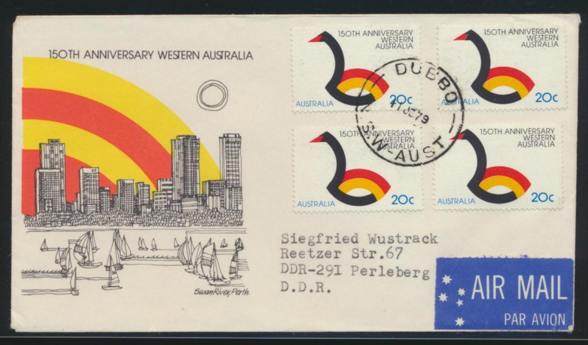 Australien Brief MEF nach Perleberg DDR Australia cover of four