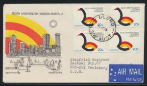 Australien Brief MEF nach Perleberg DDR Australia cover of four