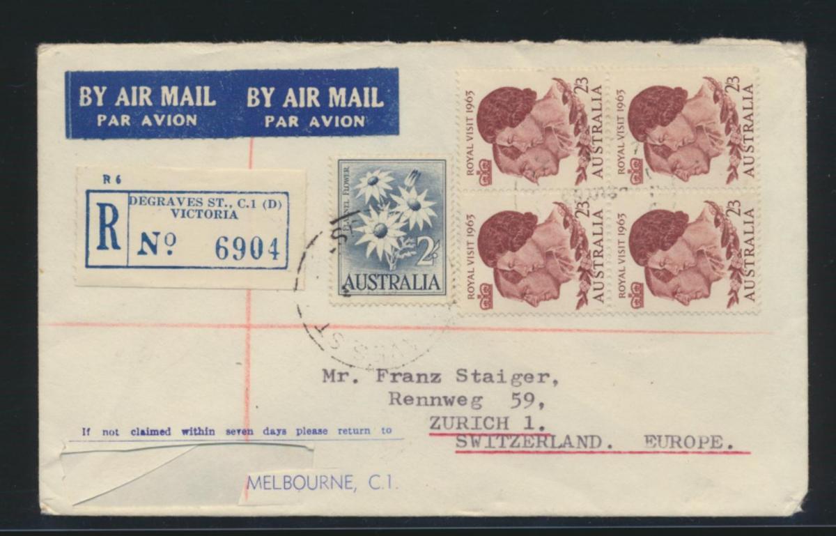 Australien R Brief MIF Victoria nach Zürich Schweiz Australia block of four 0