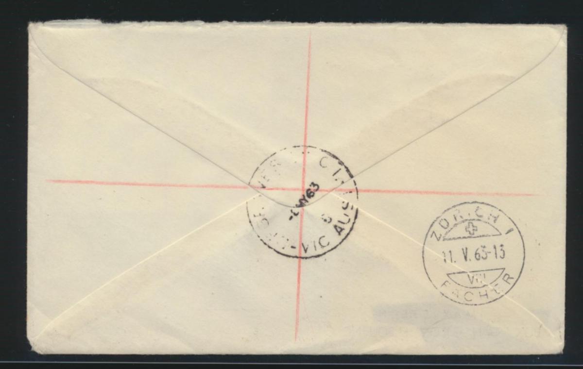 Australien R Brief MIF Victoria nach Zürich Schweiz Australia block of four 1