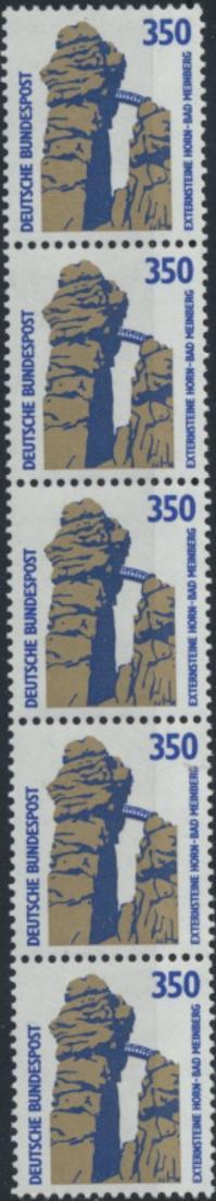 Bund 1407 R II 5er-Streifen - 350 Pf Externsteine SWK.
