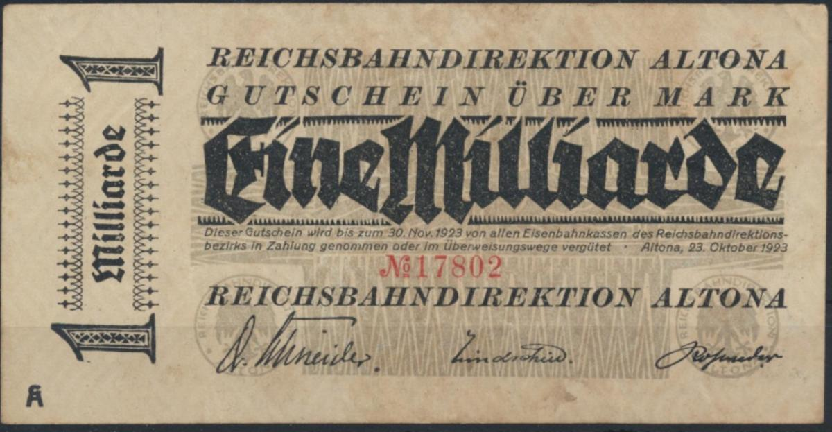 Reichsbahndirektion Altona 1 Milliarde Mark 1923 VF