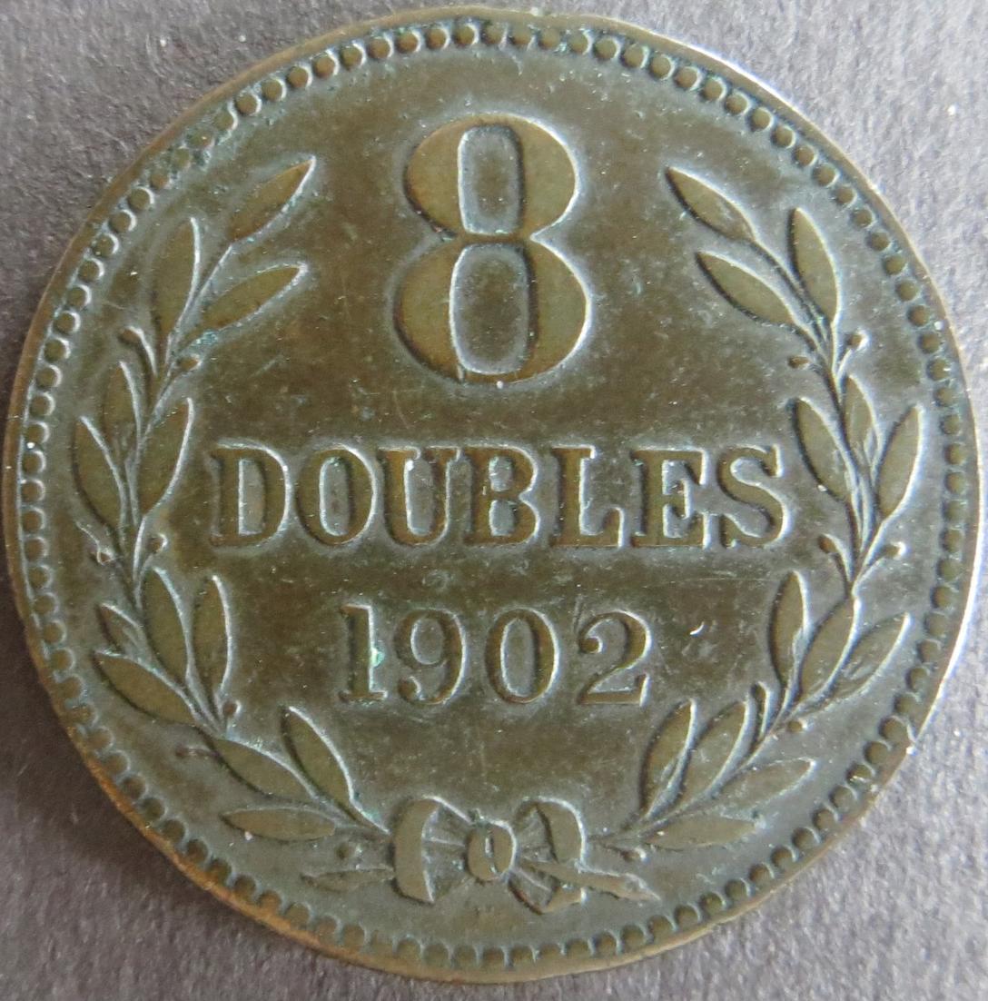 Münze Großbritannien - Guernsey 1902 - 8 Doubles  Kupfer ss