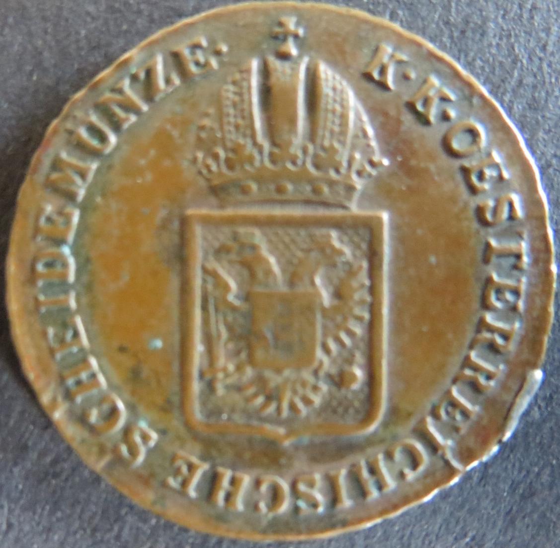 Münze Österreich 1816 A - 1/2 Kreuzer Kaiserkrone Wappenschild Kupfer ss