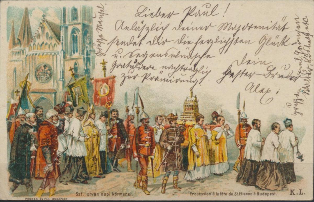 Ganzsache Künstler Litho Ungarn St. Istvan Tag Prozession Budapest Chemnitz