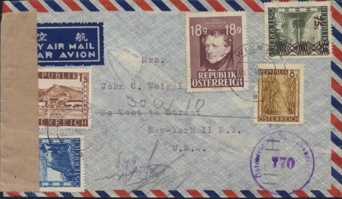 Österreich Brief Luftpost Zensur MIF 742+750+767+802+835 Wien nach New York