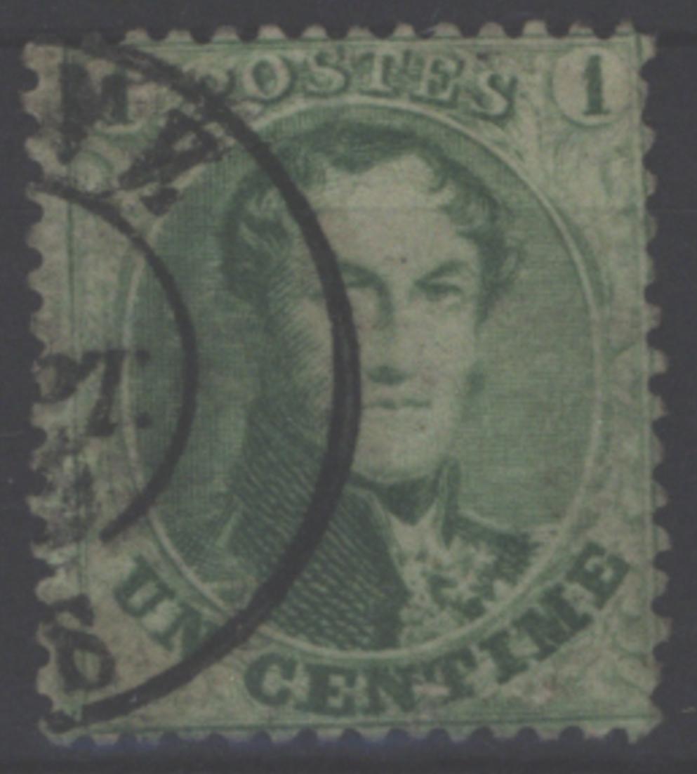 Belgien 10 C König Leopold I. im Medaillon 1 Centime 1865 gestempelt