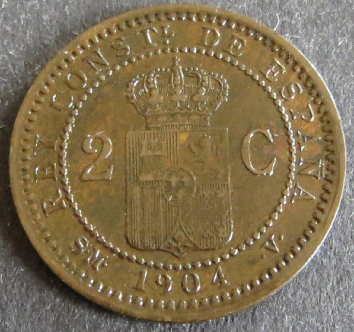 Münze Spanien 2 Centimos 1904 Schön: 6 Unz