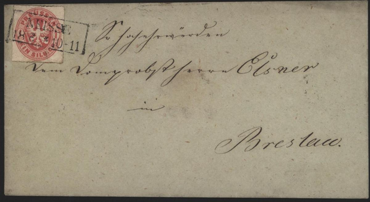 Preussen Brief 16 a EF 1 Gr. Adler R2 Neisse nach Breslau Nysa Polen