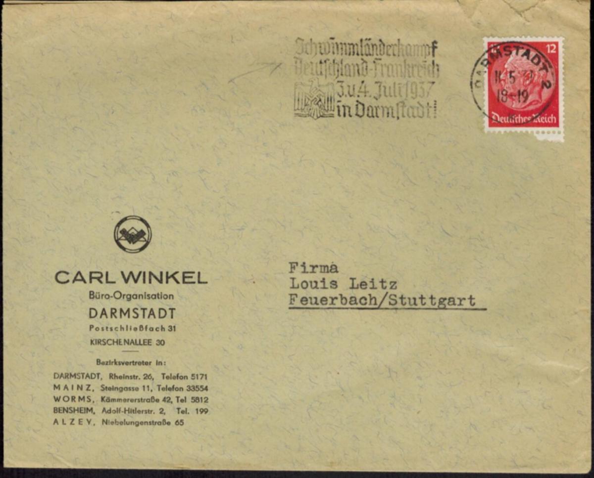 Deutsches Reich Brief Wassersport SST Schwimmländerkampf Deutschland Frankreich