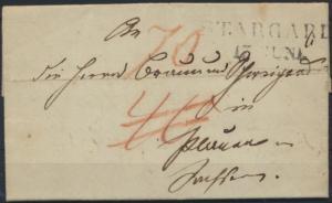Vorphila Brief L2 Stargard in Pommern Preussen 1826 kompl. mit Inhalt